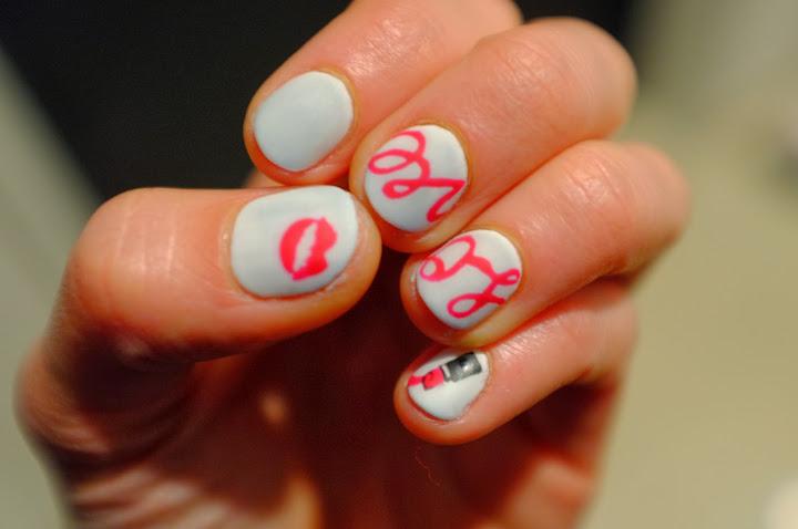 japanese nail art white and pink