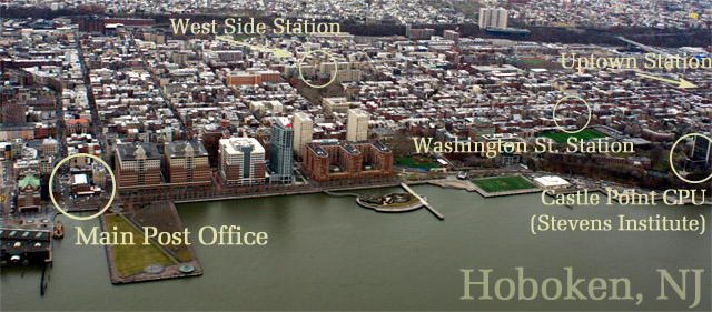 Aerial view of Hoboken with post offices
