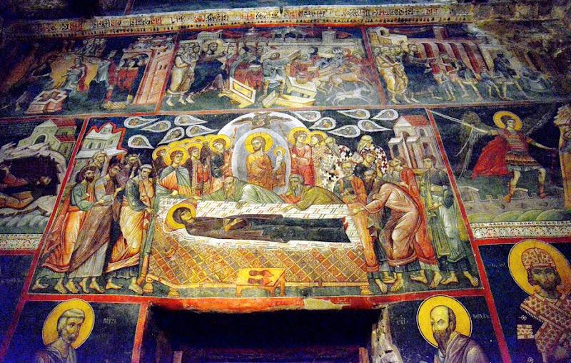 12. Dormition of the Holy Virgin. Byzantium fresco. XIV Century. The Monastery St. Gabriel of Lesnovo and St. Archangel Michail