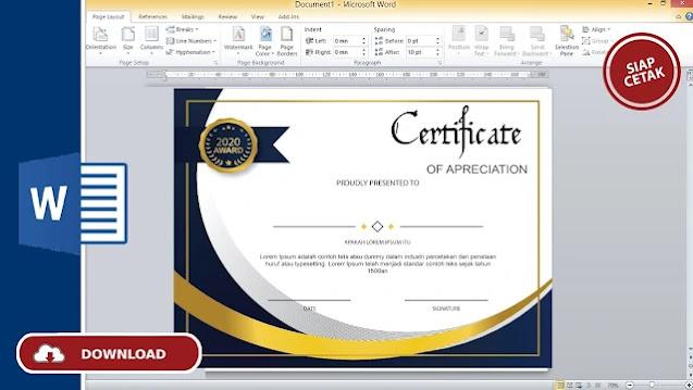 Template Sertifikat : Download Desain Sertifikat Dengan Ms.Word Terbar