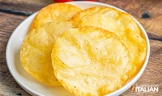 fried chalupas on a white plate
