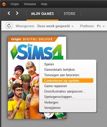 De Sims 4 controleren op updates