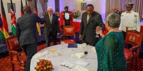 President Uhuru Kenyatta, First Lady and Deputy President William Ruto at the statehouse. PHOTO | BMS