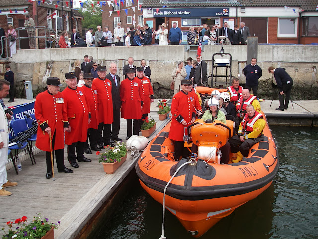 Paul and his Chelsea Pensioners during the naming ceremony of Sgt Bob Martin (Civil Service No.50).