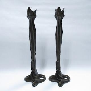 Milo Bronze Art Nouveau Candlestick Pair