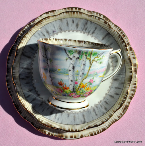 Royal Albert Silver Birch Vintage Teacup Saucer and Tea Plate