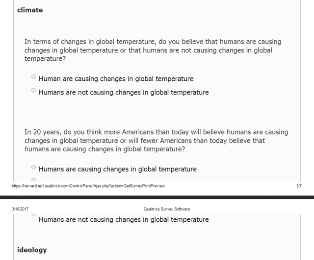 Screenshot of survey question about climate change in the study, 'The Belief in a Favorable Future', by Rogers, et al., 2017, published on 3 August 2017. Graphic: Rogers, et al., 2017 / Psychological Science