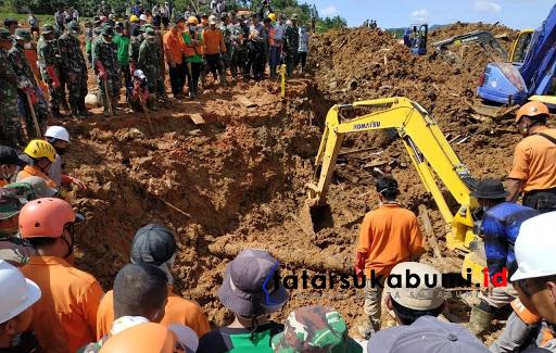 Proses pencarian korban longsor Cisolok Sukabumi hari ke-6 / Foto : Isep Panji (5/1/2019)