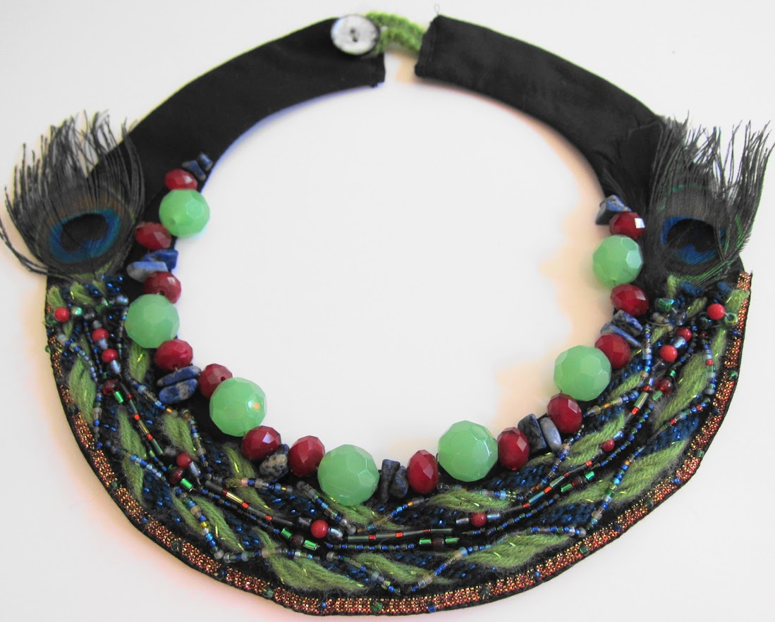 Bohemian Peacock Feather Bib Necklace by Georgean Beauty
