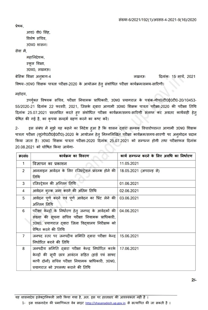 UPTET परीक्षा 2020 के आयोजन हेतु संशोधित कार्यक्रम जारी, 18 मई से आवेदन एवं 25 जुलाई को होगी परीक्षा, देखें शासनादेश की कॉपी