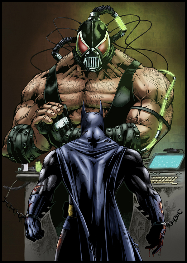 Batman vs Bane pencils by Marcio Abreu and colors by Logicfun