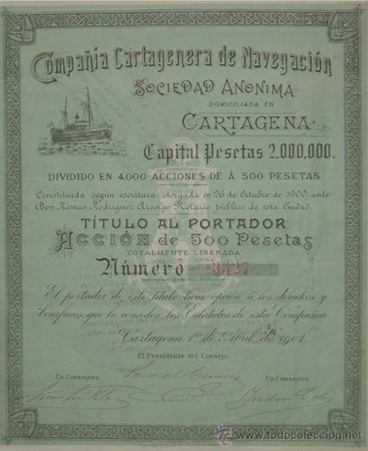 Copia de una de las acciones de la Compañía. Colección Jose Angel del Rio Pellon.jpg