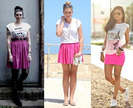 Como usar saia cor de rosa com camiseta branca