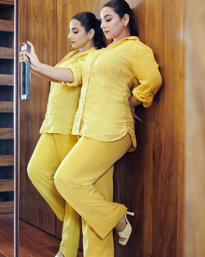 Vidya Balan Sexy In Yellow Pants and Shirt