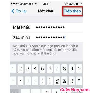 chọn mật khẩu apple id, đặt mật khẩu icloud