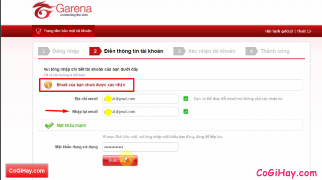 Nhập lại địa chỉ email đăng ký Fifa