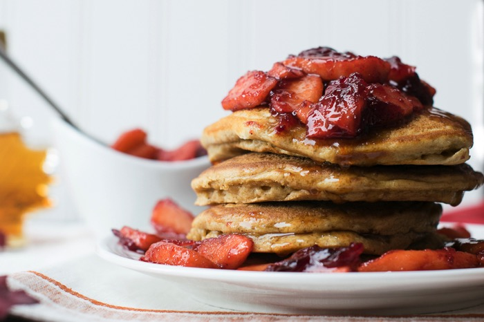 Gingerbread Pancakes with cranberry apple compote
