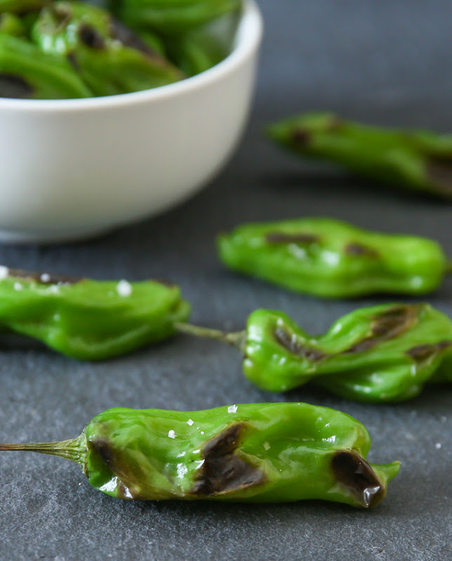 close-up photo of Sauteed Blistered Shishito Peppers