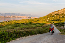 Biking in the evening hours on Pag.