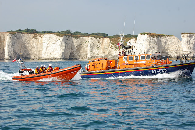 Poole's B class Atlantic 85 and Tyne class lifeboats on exercise in Poole Bay off Old Harry rocks Sunday 14 July 2013 Photo: RNLI Poole/Dave Riley