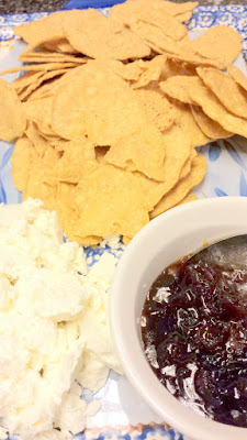 Caramelized Onion Jam with Goat Cheese and Food Should Taste Good gluten free GMO free Sweet Potato Tortilla Chips