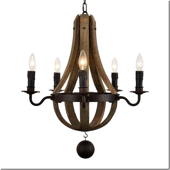 Docheer 5-Light Vintage Rust Iron Wood Chandelier