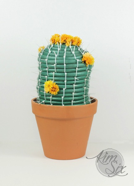 Garden Hose Repurpose into Cactus