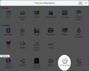 Configurar el sistema. Accesibilidad en Linux y otros. Fecha y hora.