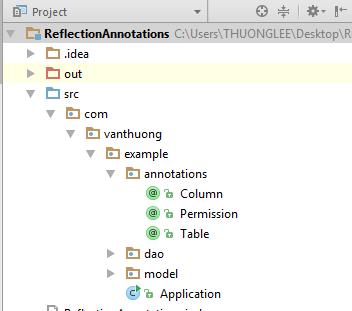 cấu trúc dự án Java Reflection & Annotation