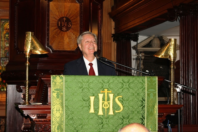 U.S. Senator Lindsey Graham addresses the crowd.