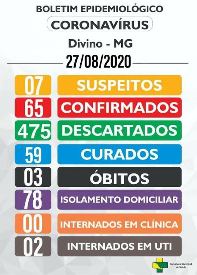 Boletim Epidemiológico Divino: 27 de Agosto de 2020