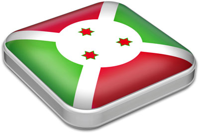 Flag of Burundi with metallic square frame