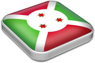 Flag of Burundi with metallic square frame