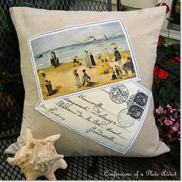 CONFESSIONS OF A PLATE ADDICT Frenchy Beach Postcard Pillow