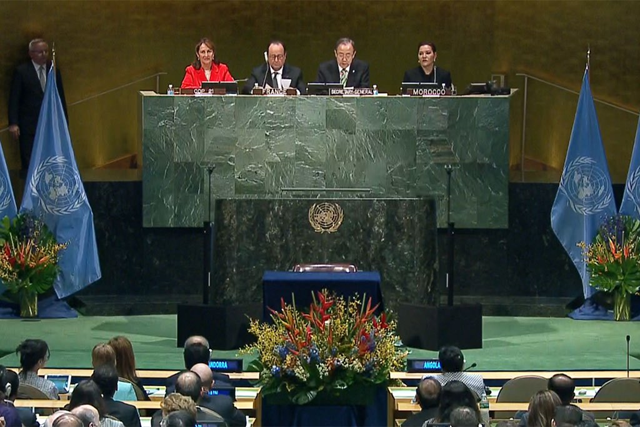 View of the GA Hall Opening Signing Ceremony of the Paris Climate Treaty, 22 April 2016. Photo: UN Web