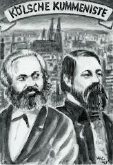 Grafik: Marx und Engels vor Stadtpanorama Köln.