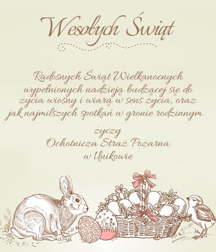 kartka Wielkanoc 2016 OSP Uników