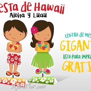 Fiesta Hawaiina: Centro de Mesa para Imprimir