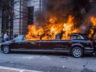 Limo. burns trumpprotest