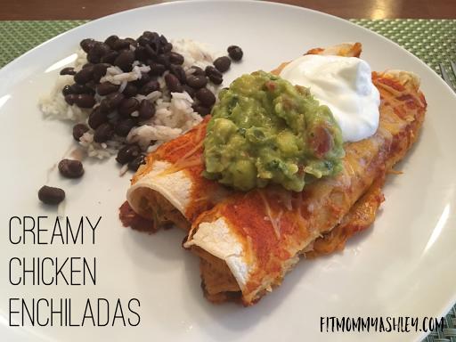 healthy, clean, easy, dinner, mexican, delicious, creamy, enchiladas, chicken