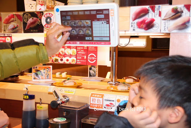 Ordering dishes from the touch screen panel.