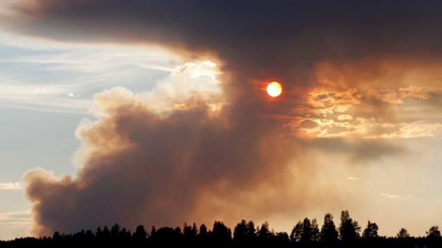 Above Karbole, Sweden where fires have burned since the weekend, smoke blotted out the sun on 18 July 2018. Graphic: AFP