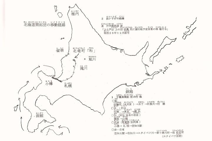 北海道開拓団の移動経路