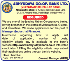 Abhyudaya Bank Advertisement 2019 indgovtjobs
