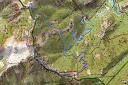 Carte du versant Sud de la Figarella avec le tracé du parcours de la boucle de Capu di Vegnu