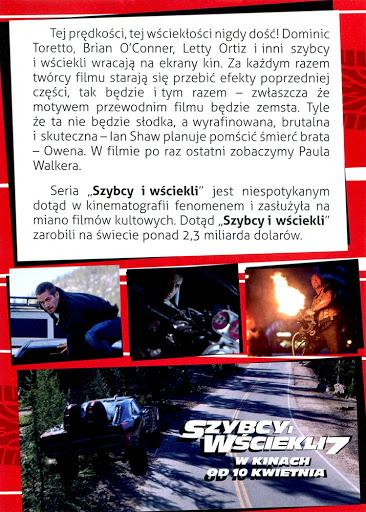 Tył ulotki filmu 'Szybcy i Wściekli 7'