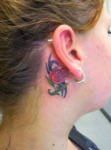 small rose tattoos behind ear