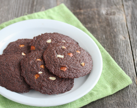 photo of Chocolate Almond Butter Cookies on a plate