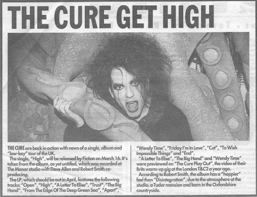 On Nights Like This: The Cure, Wish Press Information, Early 1992