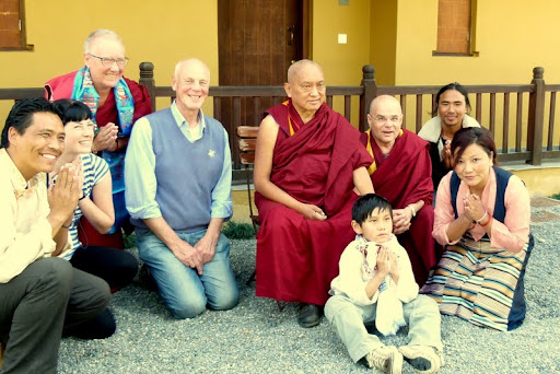 Lama Zopa Rinpoche visits staff and friends at Ganden Yiga Chözin Buddhist Meditation Centre, Pokhara, Nepal, February 2012.